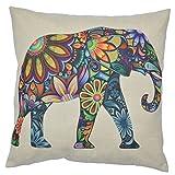 "WayHomeDecor Cotton Linen Decorative Throw Pillow Case Cushion Cover Cute Elephant 18 ""X18 """