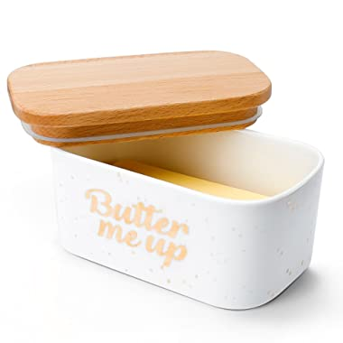 Sweese 3163 Large Butter Dish - Airtight Butter Keeper Holds Up to 2 Sticks of butter - Porcelain Container with Beech Wooden Lid - Butter Me Up
