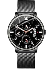 Ausexy Mens Watches Stainless Steel Waterproof Analog Quartz Watch Men Business Watch
