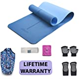 EILISON Yoga mats|7 Piece Set,Includes:Pilates Fitness Exercise Mat,Yoga Mat Tote Sling Carrier,Headband with Bluetooth,Yoga