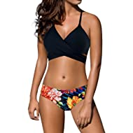 MILIMIEYIK Bathing Suits for Women Bikini Womens Floral Printing Swim Bottoms Padded Halter Bandage Two Piece Swimsuits