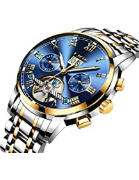 Mens Automatic Mechanical Wrist Watches Stainless Steel Date Skeleton Tourbillon Watch,Blue Gold