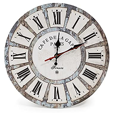 LOHAS Home 12 Inch Silent Vintage Design Wooden Round Wall Clock Roman Numeral Design Vintage Rustic Shabby Chic Style Home Decoration Wooden Round Wall Clock (Roman Holiday)