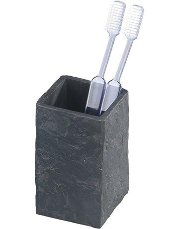 Wenko Slate Rock Vaso para Cepillos de Dientes, Poliresina, Antracita, 6.4x6.