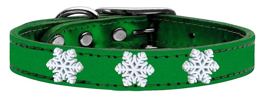 Mirage Pet Products 83-59 EGM10 Snowflake Widget Genuine Metallic Leather Emerald Green Dog Collar