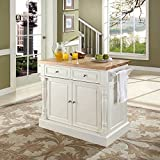 Butcher Block Kitchen Island Crosley Furniture Butcher Block Top Kitchen Island in White Finish