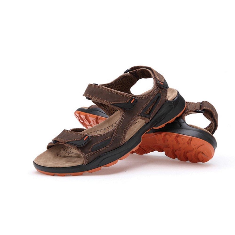 Xiaoqin Herren Sandalen Leder Breathable Slip einstellbar : Sommer Strand Hausschuhe (Farbe : einstellbar Khaki, Größe : 41 1/3 EU) Braun aa1752