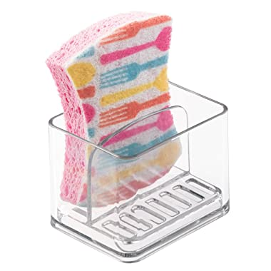mDesign Scrubber, Soap and Sponge Holder for Kitchen Sink - Clear
