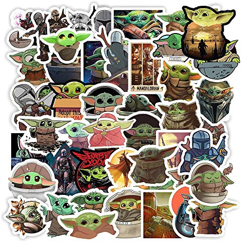 Baby_Yoda Stickers[50pcs] Vinyl Waterproof Stickers for Laptop, Hydro Flask Water Bottle Car Cup Computer Guitar Skateboard Luggage Bike Bumper, Kid Gift (Baby_Yoda-50Pcs)