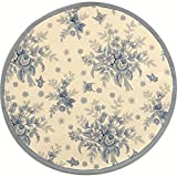 Safavieh Chelsea Collection HK250A Hand-Hooked Ivory and Blue Wool Round Area Rug, 3 feet in Diameter (3' Diameter)