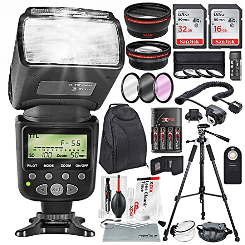 58MM 2.2X Telephoto & 0.43X Wide Angle HD w/SLR AF Power Zoom Flash & xpix Cleaning Accessories + Professional kit for Canon Rebel (T6s T6i T6 T5i T4i T3i T3), EOS (700D 650D 600D 1100D 550D 500D)