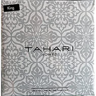Tahari Cotton King Size 4 Piece Sheet Set Light Gray Scroll Pattern on White