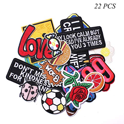 J.CARP Words Slogan Cool Embroidered Iron on Patches, Cute Sewing Applique for Motorcycle Biker Jackets Jeans Backpacks Caps (22PCS)