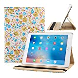 TOPCHANCES Slim Mordern Smart Cover Case for the iPad Air, iPad 5 with Auto Sleep/Wake Function Built in Stand-Green Embossed Flowerss Case (Humulan Yellow)