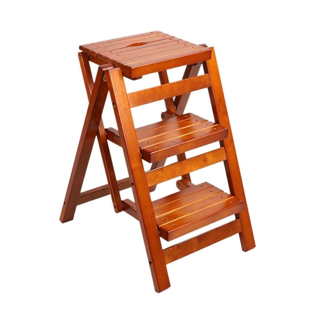 GAIXIA-Ladder Sgabello Pieghevole Multifunzione scaletta in Legno massello Sgabello Scala Domestica Sedia per Ufficio Sgabello Panca 42.5x55.5x66cm