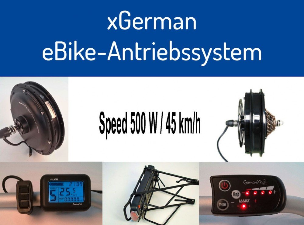 Sonder-Aktion: xGerman Nachrüstsatz 500W/36V, 28' Vorderradantrieb mit LCD-Display & Trinkflaschen-Akku 11,6Ah