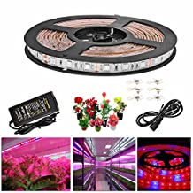 Topled Light LED Plant Grow Light, 5Metres/16.4ft with Power Adapter, Full Spectrum Red Blue 4:1 Rope Lights for Aquarium Greenhouse Hydroponic Yard Garden Flowers Veg Grow Lights