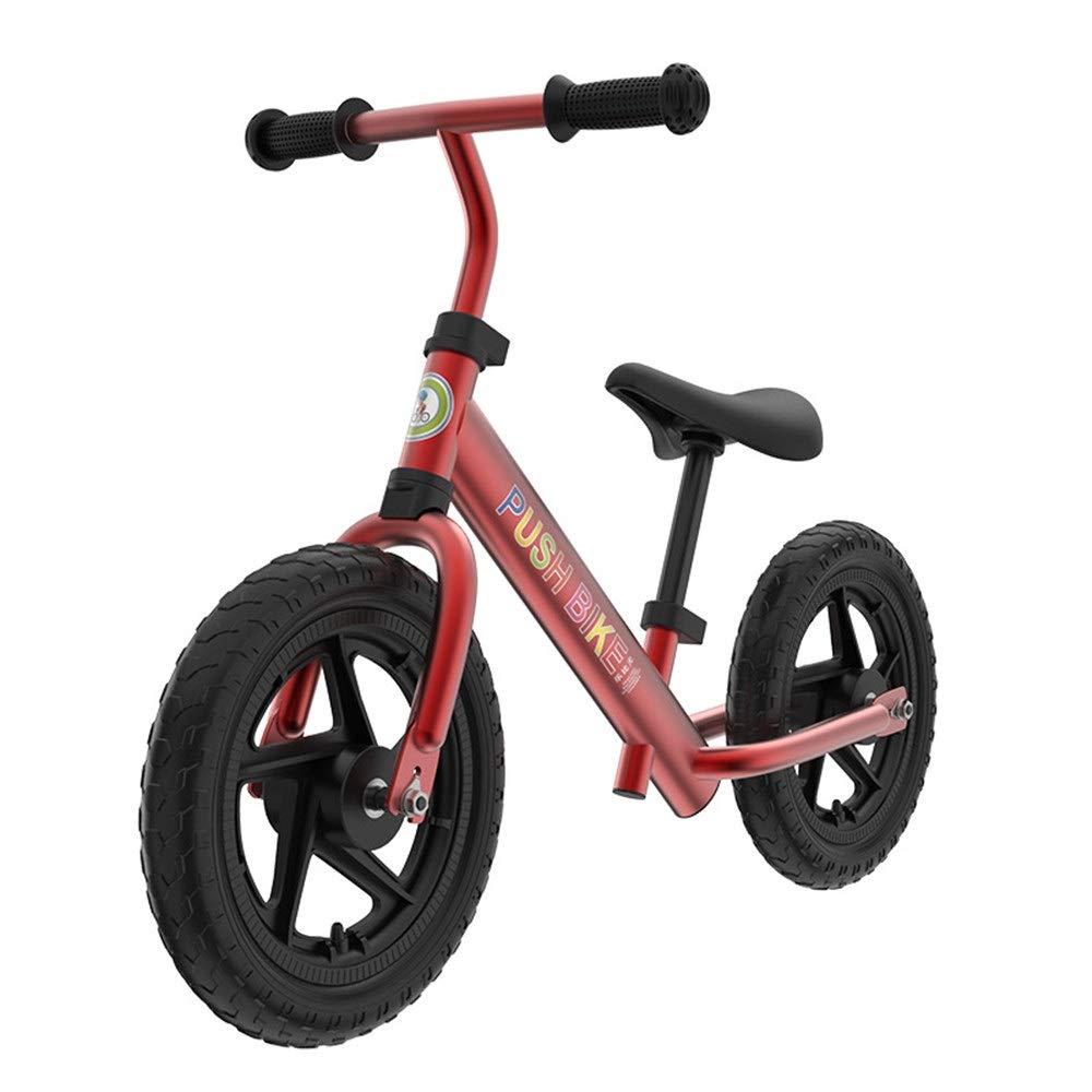 rojo Zoueroih Bicicleta de Equilibrio Sport Balance Bike No Pedal Walking Bicicleta con Marco de Acero Balance de Aluminio para niños uomoillar Ajustable y Asiento 12 Pulgadas Bicicleta para niños 12 inches