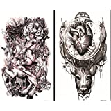 GGSELL GGSELL waterproof and non toxic 2pcs temporary tattoos in one package, it's including devil,angels with horse,heart with head temporary tattoos