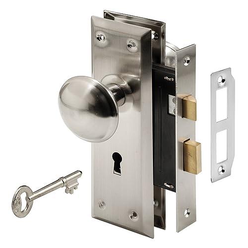Prime-Line E 2330 Mortise Keyed Lock Set with Satin Nickel Knob – Perfect  for - Vintage Door Hardware: Amazon.com