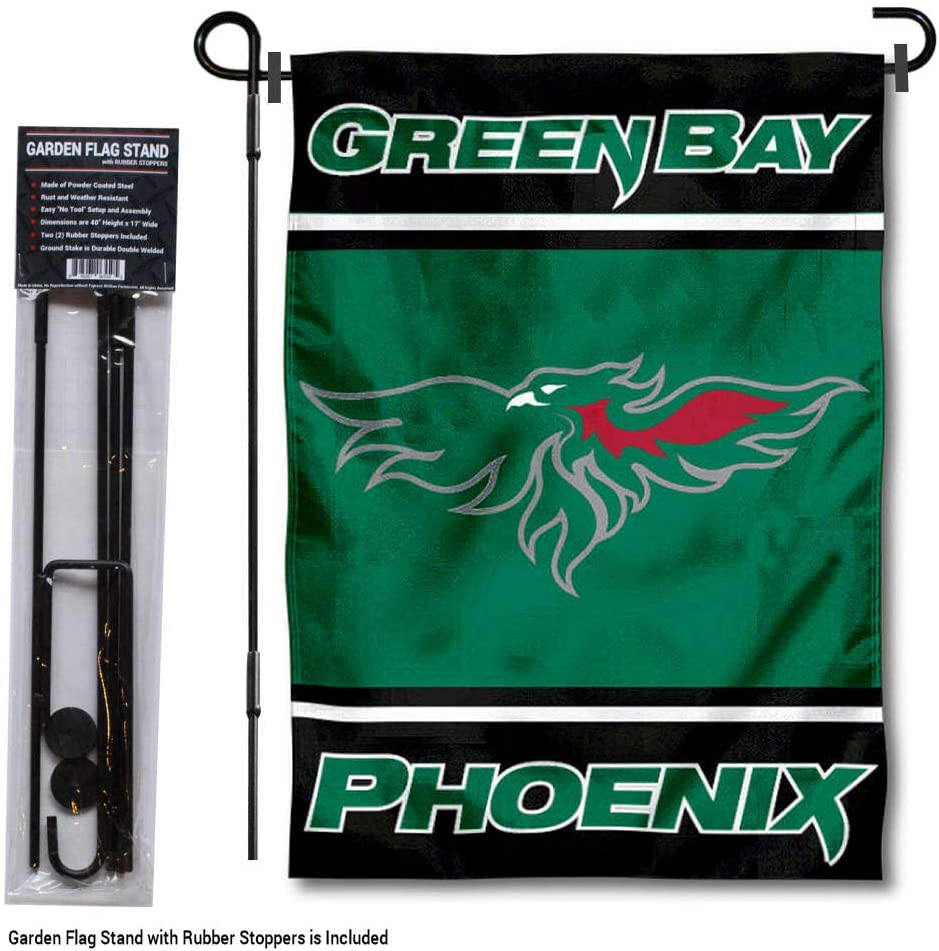 College Flags and Banners Co. ウィスコンシングリーンベイフェニックスガーデンフラッグ スタンドホルダー付き