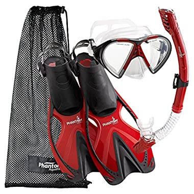 Phantom Aquatics Adult Speed Sport Mask Fin Snorkel Set, Red, Large