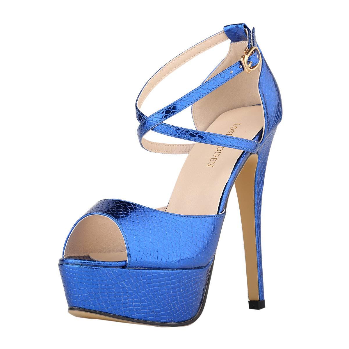 bluee Women's Peep Toe Platform Stiletto High Heel Ankle Crisscross Strap Buckle Snap Dress Party Heeled Sandals