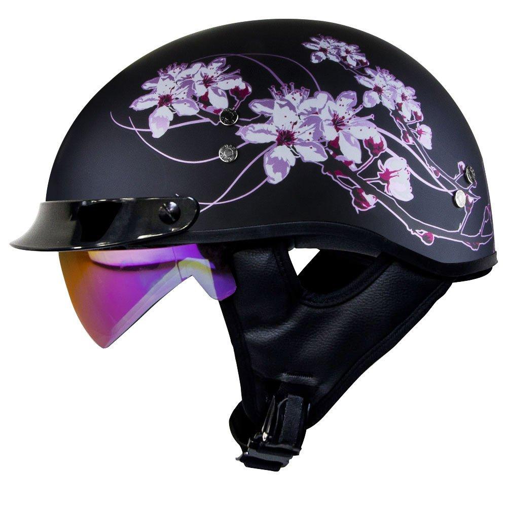 1a2ad479e22 Voss 888FRP Matte Black Sakura Pink Ribbon Half Helmet with Integrated Sun  Lens Metal Quick Release