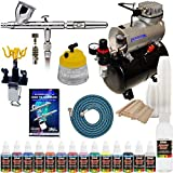 IWATA HP-CS Eclipse Airbrush Kit With Master Airbrush Tank Compressor and 6 Foot Air Hose Set, Airbrush Paint Set, Airbrush Holder, Cleaning Tank, Mixing Sticks and Cups