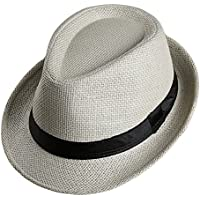 da2c5d61e7c7b LOCOMO Men Women Straw Trilby Hat Fedora Short Upturn Brim FFH391BE1