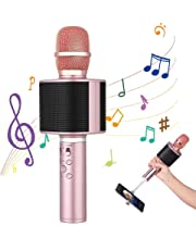Karaoke Microphones, 4 in 1 Wireless Bluetooth TWS microphone, Portable Karaoke Player Speaker Machine for Android/iPhone/iPad/Sony/PC/Smartphone (Rosegold) - 2019 Upgrated