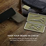"""Suvorna Premium Beard and Mustache Scissors set/Kit (4pcs). Contains 5.5"""" Precision Cut Beard & Mustache, Ears & Nose and Eyebrow Scissors along with Slant Tweezers. Comes"""