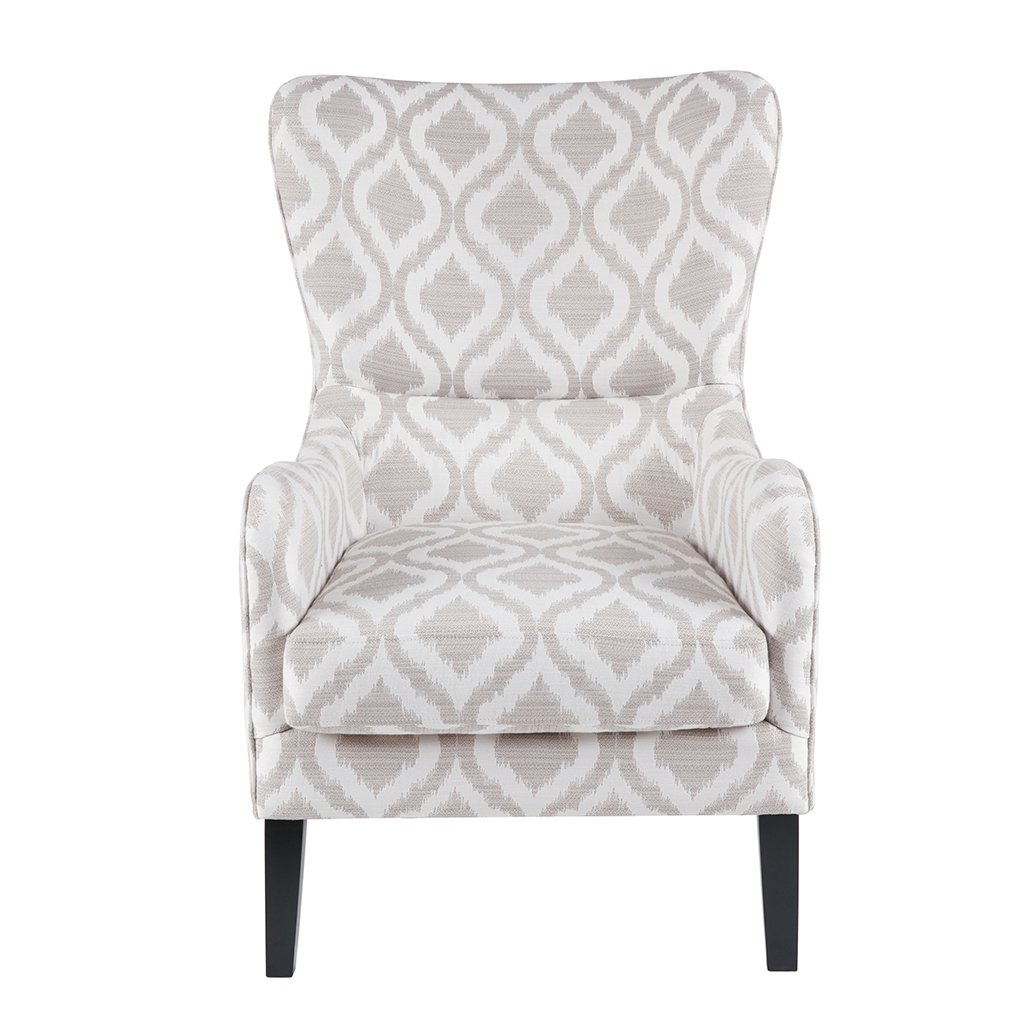Madison Park Arianna Swoop Wing Chair with Lumbar Support, See below, Grey/White