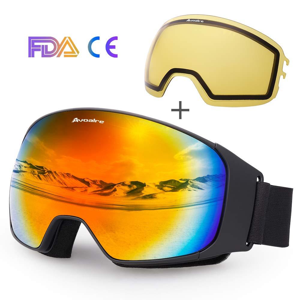 Avoalre Gafas de esquí Gafas de esquí antiniebla para Snowboard para Hombre Gafas de protección UV