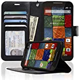 Navor Motorola Moto X (Second Generation) Folio PU Leather Wallet Case with Money Pocket -Black