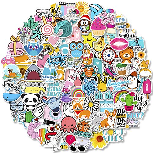 100 PCS Hydroflask Stickers, Cute Waterproof Aesthetic Vinyl Stickers for Water Bottles Laptop Computer Skateboard, Sticker Packs for Teens Girls Kids