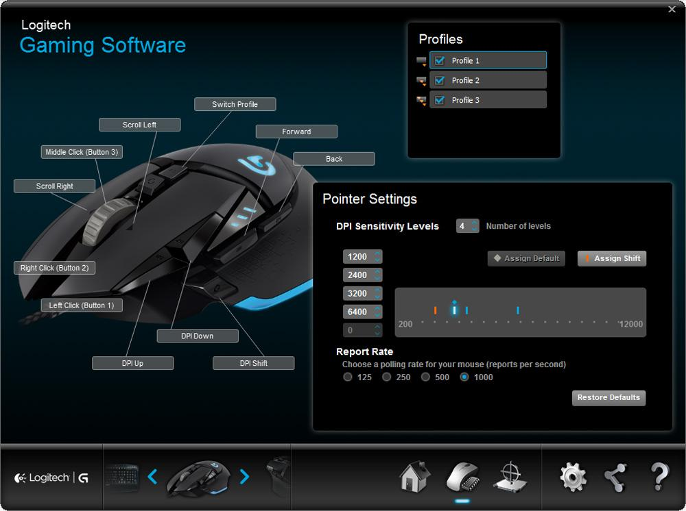 Logitech G502 Proteus Core Tunable Gaming Mouse (910-004074)
