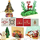 3D Christmas Cards, 5 Pieces 3D Merry Christmas Cards 3D Pop-up Greeting Thank You Blessing Cards Holiday Cards for Xmas Business, Office, Kids Chirstmas Gifts with Envelopes by eZAKKA
