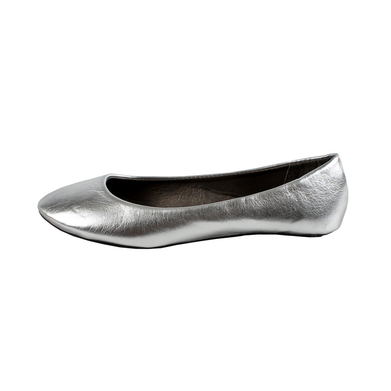 Women's New Dev-9 Round Toe Ballet Flats Ballerina Runs Small Consider Going One Size Up B01N42BEKJ Small / 7 B(M) US|Silver Pu