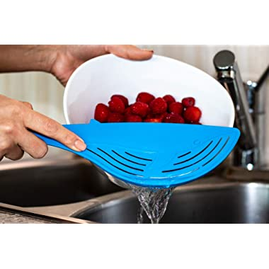 Wilbur Whale - the Affordable Whale Strainer - Pot Strainer with Handle, Food Strainer for Spaghetti and Pasta and Sieve Alternative - Fun Kitchen Gadgets and Strainers - Flat Colander Pasta Drainer