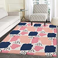 Navy and Blush Print Area rug Hand Painted Style Brushstrokes in Pastel Colors Abstract Artistic Pattern Indoor/Outdoor Area Rug 5x6 Multicolor