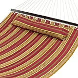 Best Choice Products Quilted Double Hammock w/ Detachable Pillow, Spreader Bar - Burgundy and Tan Stripe