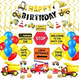 Construction Birthday Party Supplies by MAHI Dump Truck Party Decorations Kits Set with 3 foil balloons for Kids Birthday Par