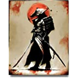 iFine Art Samurai Warrior Wall Art Framed Oil Paintings Printed on Canvas for Home Decorations Home Decor Pictures Modern Art