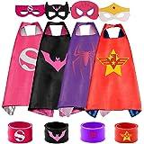 COTATERO Dress Up 4PCS Superhero Capes & Slap Bracelets for Girls Costumes Birthday Party Gifts(4pcs)