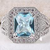 Women Men Jewelry 925 Silver Pink Sapphire Wedding Engagement Ring (7)