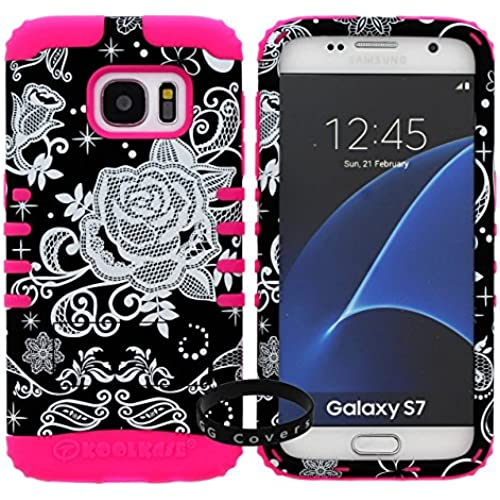 For Samsung Galaxy S7 Case, Slim Hybrid Shockproof Bumper Hard Rugged Heavy Duty Kickstand Flower on Black Hunter Real Camouflage Cover (Laalima TM Sales