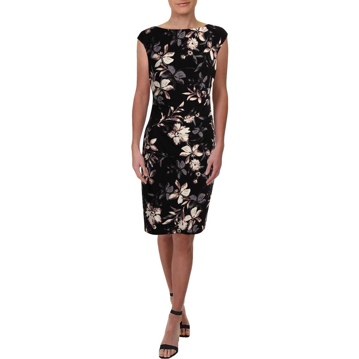 Black Peach Multi Lauren Ralph Lauren Womens Jersey Floral Print Cocktail Dress