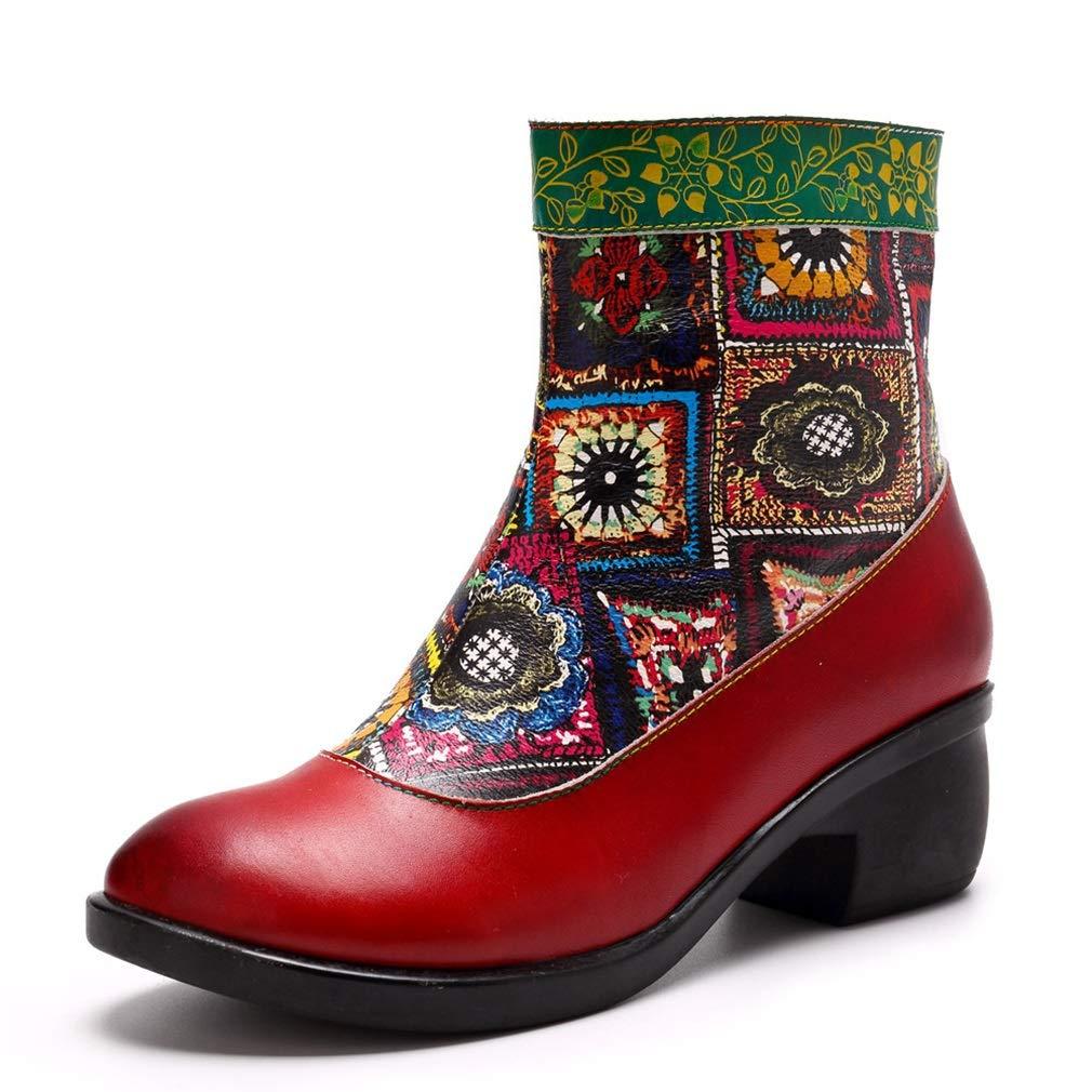Hy Damenmode Stiefel Frühling Herbst Winter Neue Leder Mode National Wind Stiefelies ,Retro Handgemachten Druck Komfort Damen Schuhe ,Persönlichkeit Europäischen und amerikanischen Stil Winter warme w