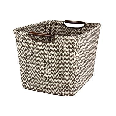 Household Essentials Tapered Storage Bin with Wood Handles, Medium, Brown Chevron